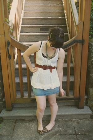 white Old Navy top - brown vintage belt - black Target top - blue thrifted skirt