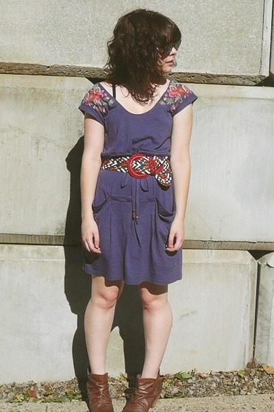 purple Anthropologie dress - brown Blowfish boots - red f21 belt - brown Ralph L