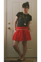 red f21 skirt - black Target shoes - gray Hot Topic t-shirt - silver Target neck