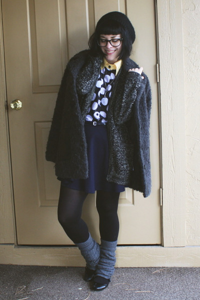 navy Forever21 skirt - dark gray Urban Outfitters coat - black pom-pom H&M hat