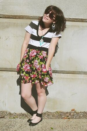 pink Target skirt - black Rampage shoes - white Old Navy t-shirt - blue vintage