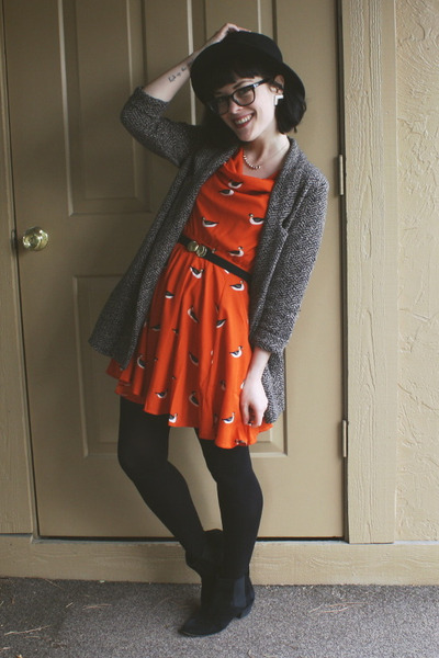 orange duck print eShakti dress - black Aldo boots - black H&M hat