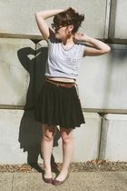 black Old Navy skirt - gray f21 top - purple Old Navy shoes - brown Wet Seal bel
