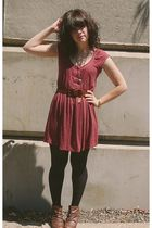 pink Urban Outfitters dress - brown vintage belt - brown Blowfish boots - silver