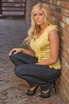 yellow Victorias Secret shirt - denim American Eagle jeans