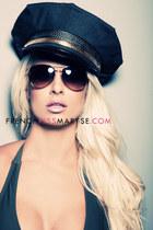 aviator sunglasses - military hat - green top
