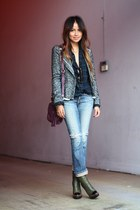 grey asos blazer - green PROENZA SCHOULER boots - denim sweetcamel jeans