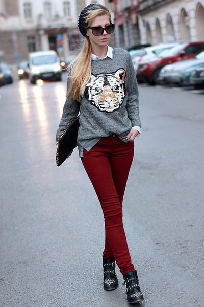 crimson maroon Zara jeans - black black Stradivarius boots - black black H&M hat
