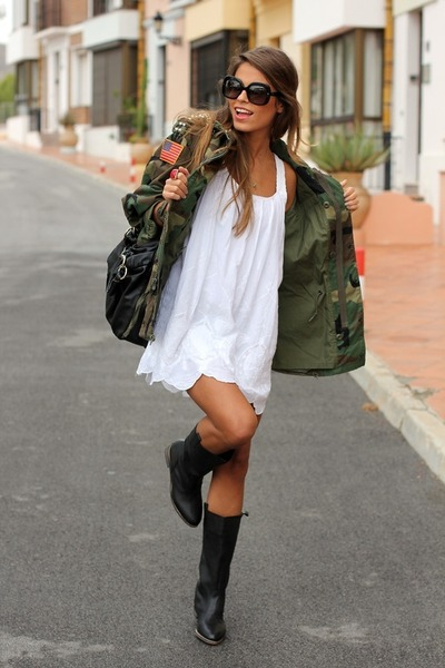 green Salvation Army jacket - black Nordstrom boots - white Forever 21 dress