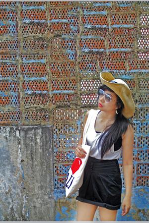 white top - black top - black skirt - silver sunglasses - beige hat