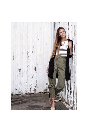 black trench coat H&M jacket - white striped H&M shirt