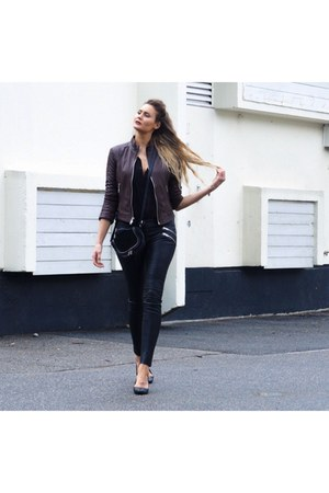 dark brown leather jacket - black suede leather bag - black leather pants