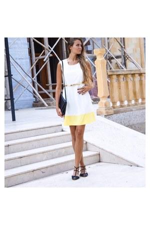 white classy Mia dress - black faux leather H&M bag - black leather Zara sandals