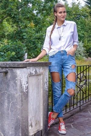 white blouse H&M blouse - light blue denim H&M jeans