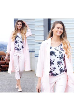 pink duster coat asos coat - white top shirt - light pink pink H&M pants