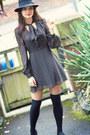Dark-gray-70s-primark-dress-black-fedora-new-look-hat-black-primark-socks