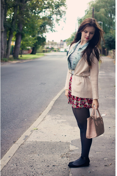 Primark bag - knitted Topshop cardigan - ankle strap new look flats