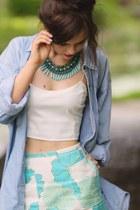 aquamarine tribal Happiness Boutique necklace - light blue denim Levis shirt