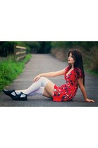 black Topshop boots - red Topshop dress
