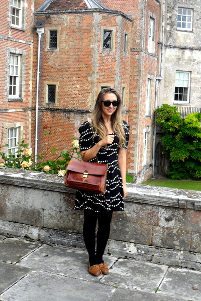 black Topshop dress - brown Topshop shoes - brown vintage purse - black Ray Ban
