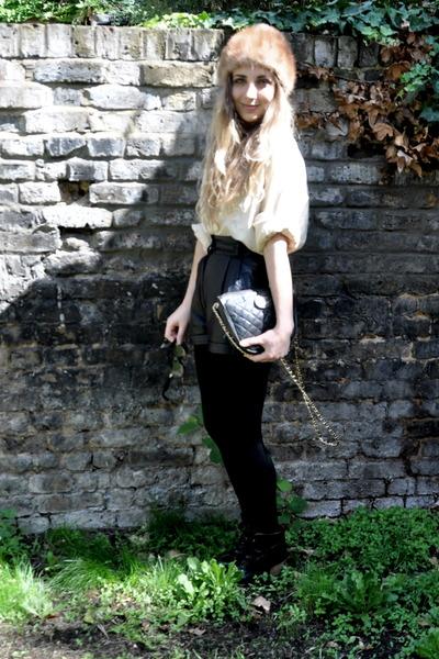 black Topshop boots - black Chanel bag - black vintage shorts - beige vintage bl