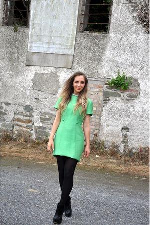 green vintage dress - black Topshop boots
