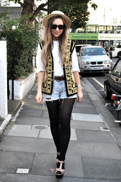 brown Topshop shoes - yellow boater vintage hat - black vintage jacket