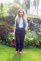 blue Zara shirt - blue Zara pants - brown Topshop shoes - brown vintage purse