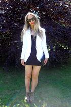 white Zara blazer - black Ebay dress - brown ashish shoes - vintage purse