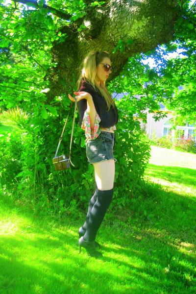 vintage eBay jacket - Topshop top - Topshop shorts - Topshop shoes