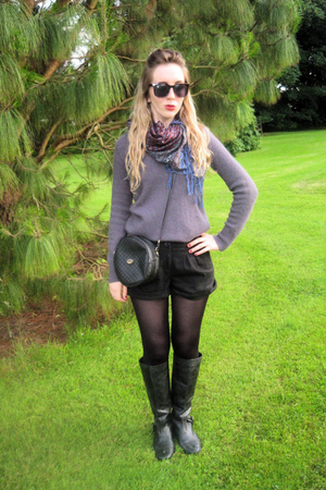 black Gucci vintage purse - black Urban Outfitters boots - gray Topshop sweater