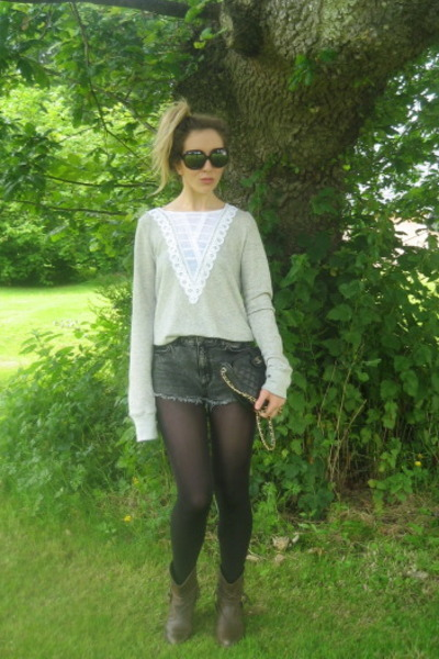 Urban Outfitters top - Topshop shorts - Topshop boots