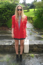 red vintage vintage from Ebay blazer - black Topshop boots - beige vintage purse