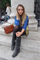 blue vintage blouse - black vintage jacket - black Urban Outfitters boots - blue