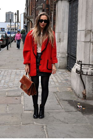 red vintage coat - black Topshop skirt - black Topshop boots - white vintage blo