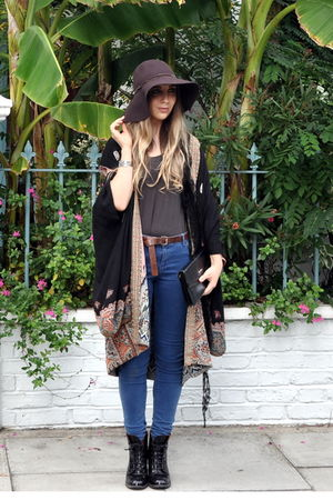 brown H&M hat - black vintage jacket - black boots - blue jacket