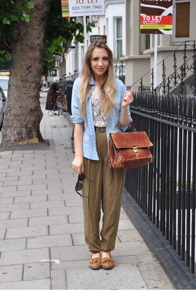 blue levi vintage shirt - brown loafers Topshop shoes - green Zara pants