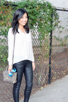 Nine West boots - leather zip cotton on leggings - Forever21 shirt