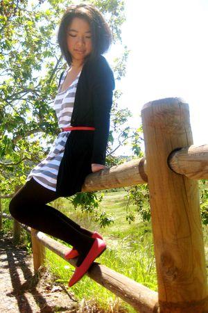 gray Forever 21 dress - black cardigan - red belt - red shoes