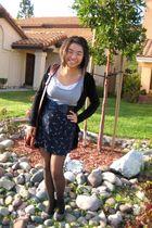gray shirt - blue vintage skirt - black Charlotte Russe cardigan - black Forever
