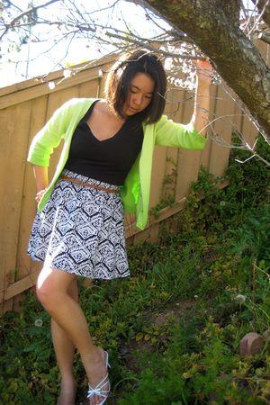 green cardigan - black Forever 21 shirt - Forever 21 skirt - white shoes - brown