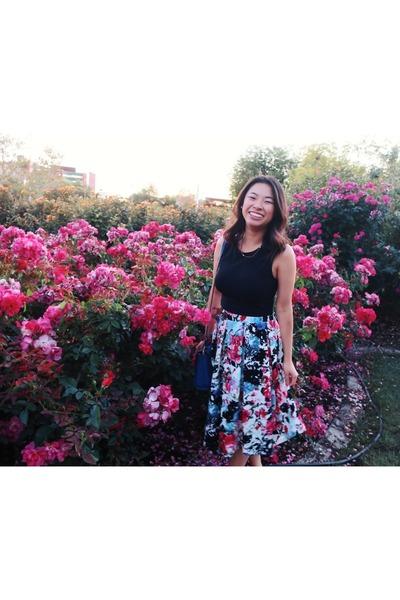floral skirt Haute Monde skirt - Express shirt - kate spade purse