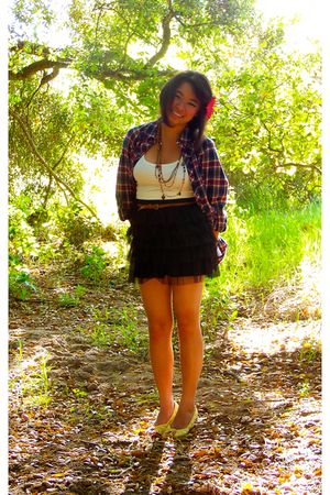 dress - Forever 21 shirt - brown Forever 21 belt - gold shoes - brown necklace