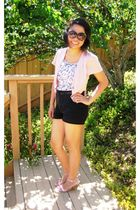 pink coat - pink shirt - black shorts - black sunglasses - black Nine West purse