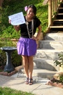 Purple-shirt-black-h-m-dress-black-shoes-forever21-accessories