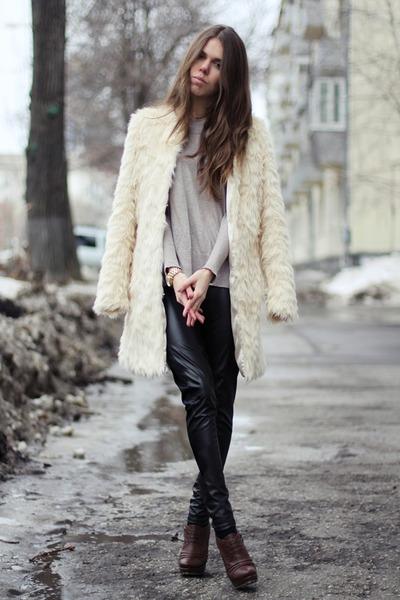 Gergina Goodman boots - asos coat - t by alexander wang sweater