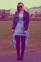 blue Júniform dress - boots furry Halldoracom boots - spandex volcano leggings