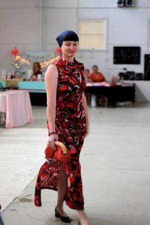 Red bag - dress - necklace - bracelet - heels - scarf