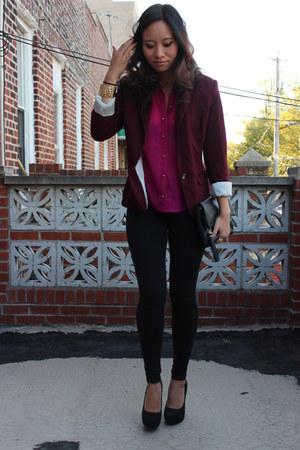 Forever 21 blazer - H&M bag - black suede heels - fuchsia blouse