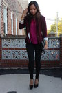 Forever-21-blazer-h-m-bag-black-suede-heels-fuchsia-blouse